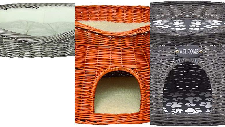Dos niveles mimbre cama del animal doméstico o Casa Gato Cesta Pod