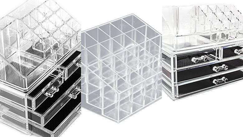 caja para maquillaje de pl/ástico iDesign Organizador de maquillaje con 14 compartimentos transparente organizador de cosm/éticos para el ba/ño o el tocador
