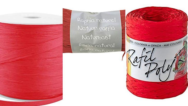 50 g color rojo Hilo de rafia Nutscene Natural